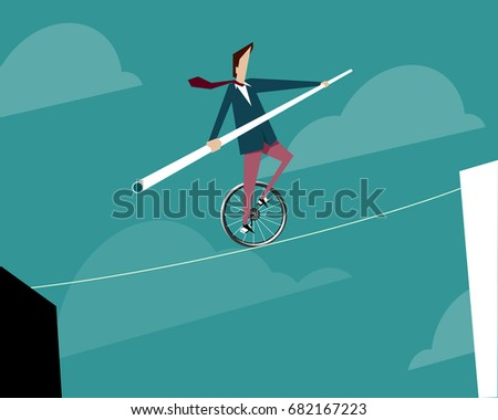 Businessman on a tightrope rises up on a unicycle