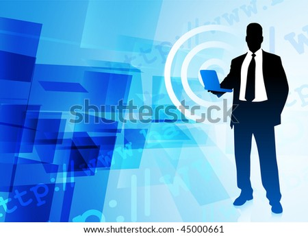 Businessman on Abstract Background Original Vector Illustration