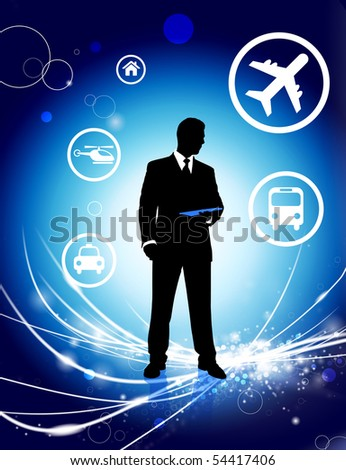 Businessman on Abstract Light Background with Icons Original Illustration