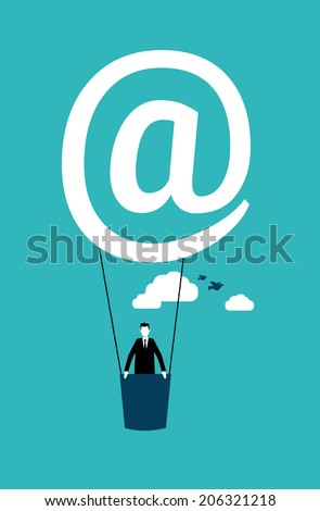 Businessman on an air balloon - stock vector
