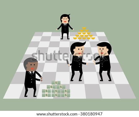 Businessman on chess game with money and gold. Business game concept.