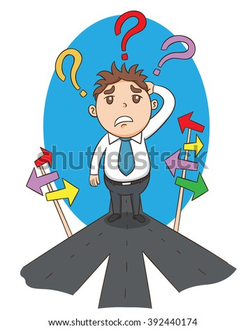 Businessman on crossroad choosing direction to success of business, vector  illustration - stock vector