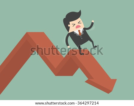 Businessman On Falling Down Chart. Business Concept Cartoon Illustration.