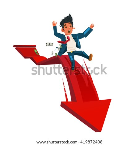 Businessman On Falling red down graph - vector illustration