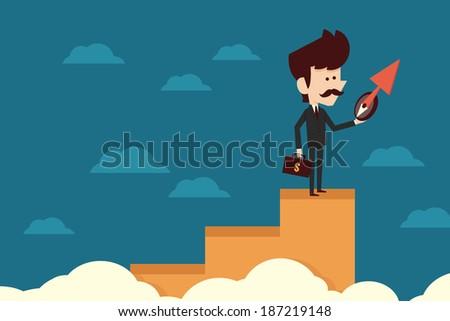 Businessman on graph, vector - stock vector