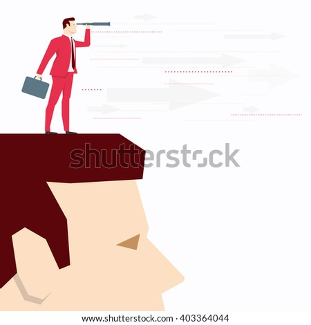 Businessman on head, looks through a telescope. Vector business concept illustration. - stock vector