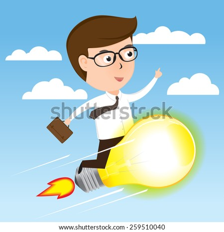 Businessman on light bulb rocket flying to success, cartoon business concept vector - stock vector
