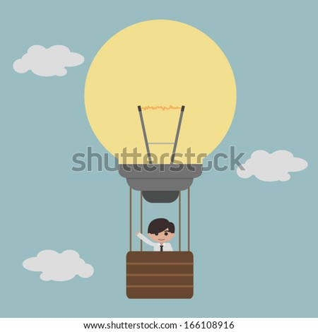 businessman on lightbulb balloon idea eps 10
