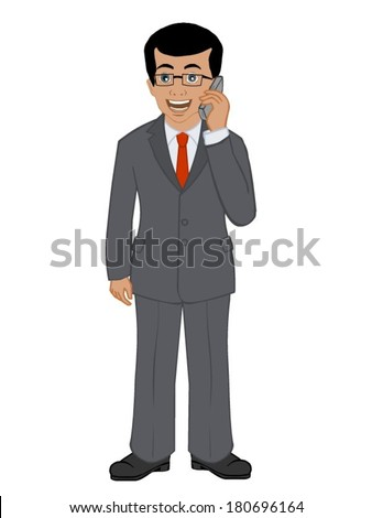 Businessman on the phone - stock vector