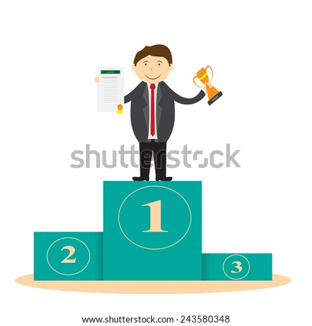 Businessman on the podium holding the winning trophy and a certificate of award shows. - stock vector