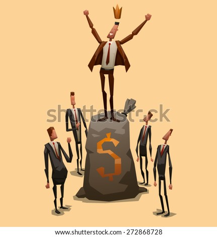 Businessman on the top, vector - stock vector