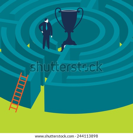 Businessman on top of a maze trying to find a way in.  - stock vector