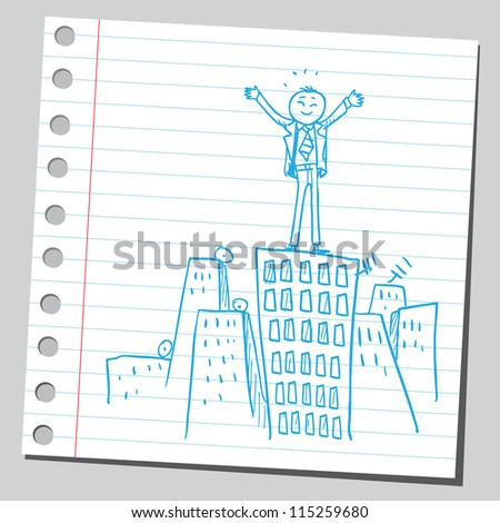 Businessman on top of the building - stock vector
