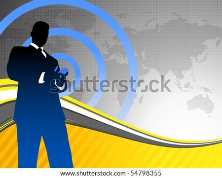Businessman on World Map Background Original Illustration - stock vector