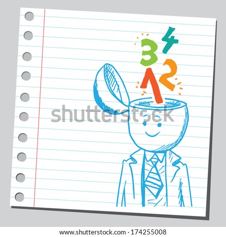 Businessman open headed with numbers  ( calculate skill concept) - stock vector