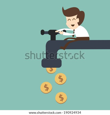 businessman open water tap with coins - stock vector