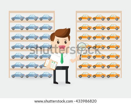 businessman or inspector detecting quality of cars products in factory