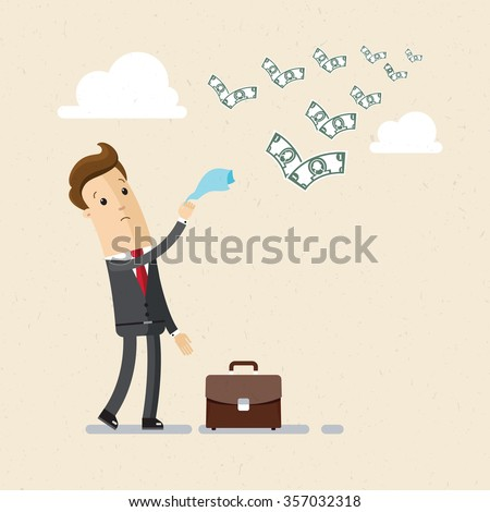 Businessman or manager. A sad man in a suit see off a flying away money. Illustration, vector EPS10. - stock vector