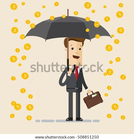 Businessman or manager with a briefcase in his hand stands with umbrella under gold coins rain. Vector, illustration, flat