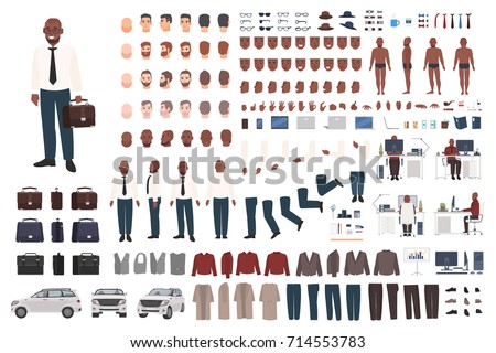 Businessman or office worker creation kit. Collection of flat male cartoon character body parts, facial gestures, smart clothing and accessories isolated on white background. Vector illustration.