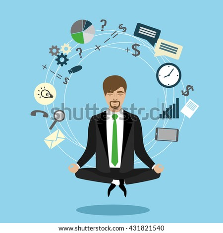 Businessman or office worker in lotus invents ideas,vector illustration