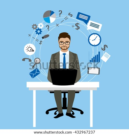Businessman or office worker working at a computer, Internet communication,vector illustration