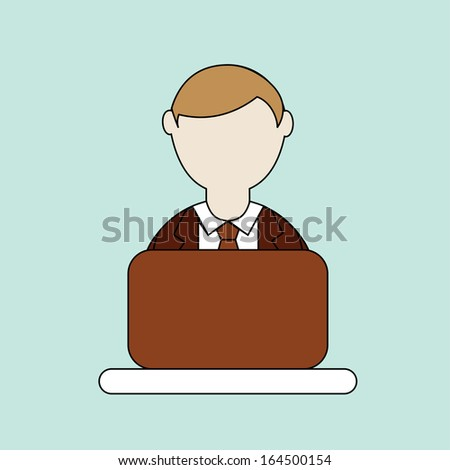 businessman over blue background vector illustration  - stock vector