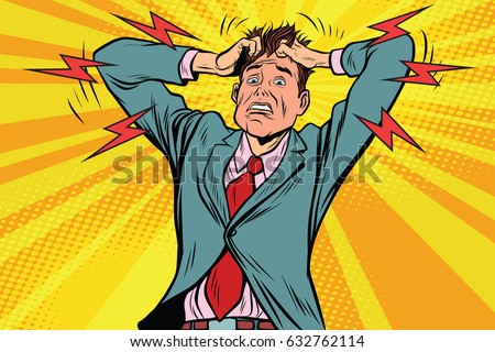 businessman panic head hand, illness and medicine. Pop art retro vector illustration