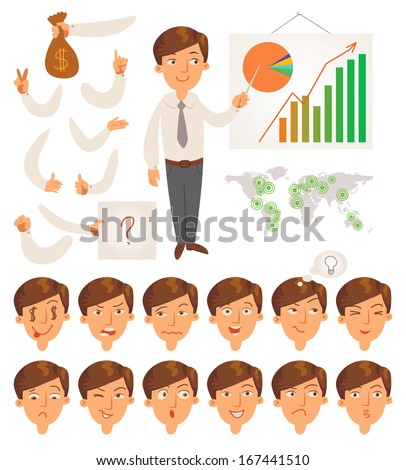 Businessman. Parts of body template for design work and animation. Face and body elements. Funny cartoon character. Vector illustration. Isolated on white background. Set - stock vector