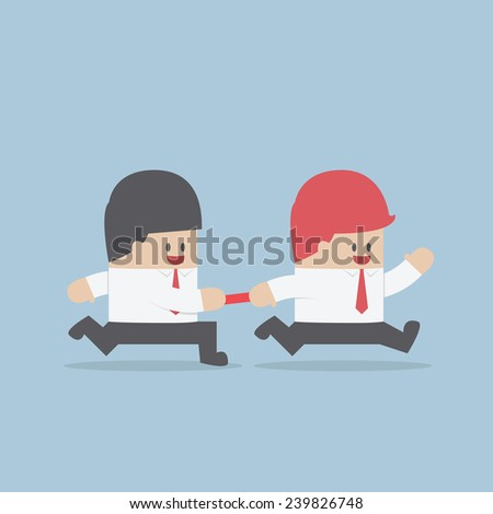 Businessman passing baton to the other in relay race, VECTOR, EPS10 - stock vector