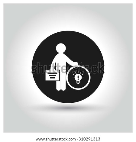 Businessman pay money for buy idea concept Icon. Black Circle Pictogram. vector illustration