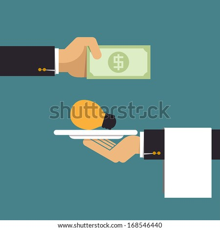 Businessman pay money for light bulb idea, Business idea - stock vector
