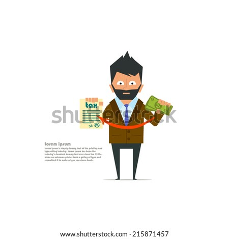 businessman pays taxes. payment of taxes - this is very important. vector illustration.