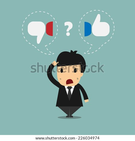 Businessman people who are thinking of doing the right thing or wrong thing  - stock vector