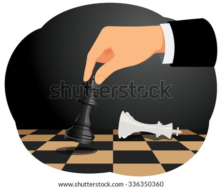 Businessman playing chess game. Checkmate move on king. Business strategy concept. - stock vector