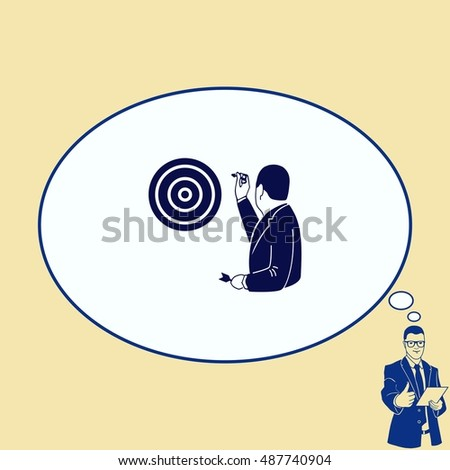 Businessman playing darts. The success of the concept. Vector illustration.