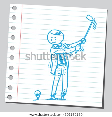 Businessman playing golf - stock vector