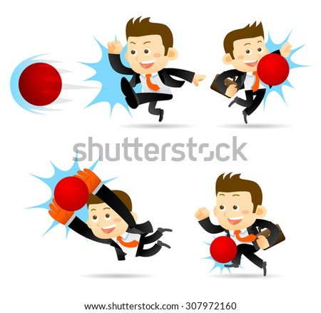 Businessman playing soccer ball isolated in white - stock vector