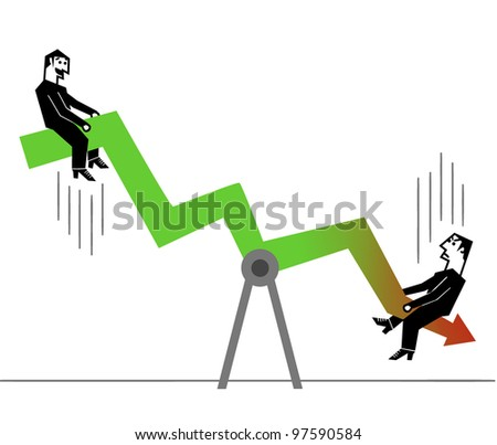 businessman playing with financial arrow