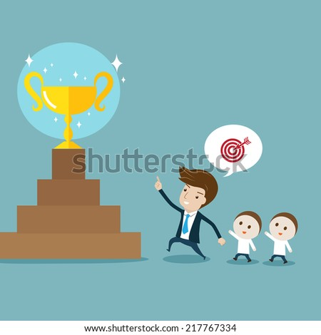 Businessman pointing  and leading followers to target. Vector cartoon for leadership, target, goal, achievement, teamwork or motivation concept - stock vector