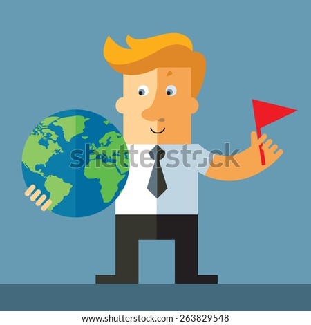 Businessman pointing at and holding a globe with a marked spot - stock vector
