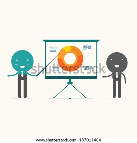 businessman pointing presentation with Presentation Board,illustration vector. - stock vector