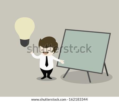 businessman pointing presentationon green board and get idea  - stock vector