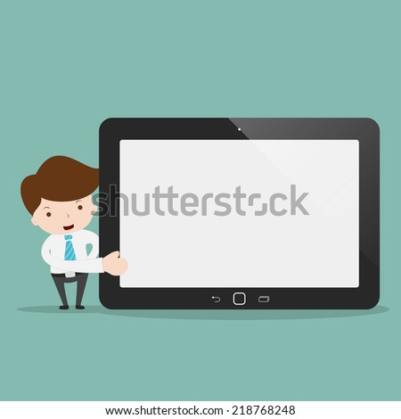 Businessman pointing to the screen of a tablet. - stock vector