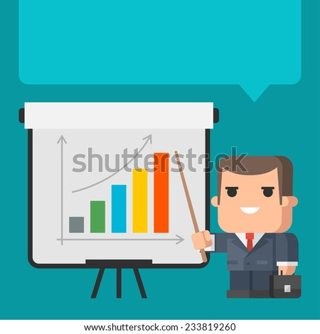 Businessman points on flip-chart concept - stock vector