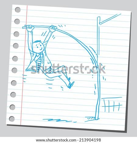 Businessman pole vaulting - stock vector