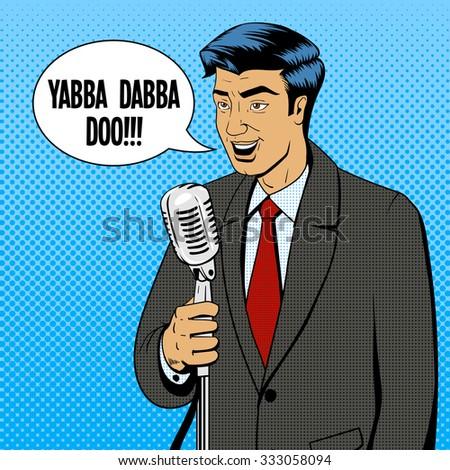 Businessman politician speaker singer man with microphone pop art retro style comic book vector illustration - stock vector