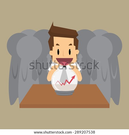 businessman predict the future, forecast for business. vector