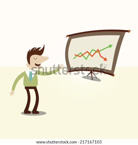 Businessman presentation chart.Vintage cartoon business vector design.