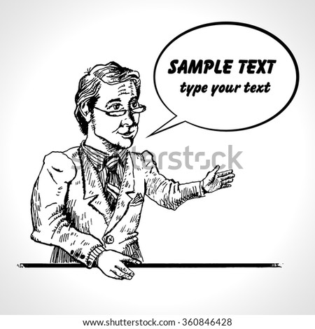 Businessman presentation gesture hands business concept comics retro style. Hand drawn sketch illustration